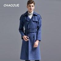 CHAOJUE Марка Европа модное шерстяное пальто для Для мужчин высокое качество 2018 зима двубортный длинный плащ Мужской Англия синий пальто