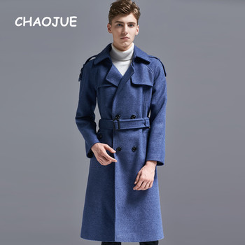 CHAOJUE Brand Europe Fashion Woolen Coat for Men High Quality 2018 Winter Double Breasted Long Trench Male England Blue Overcoat