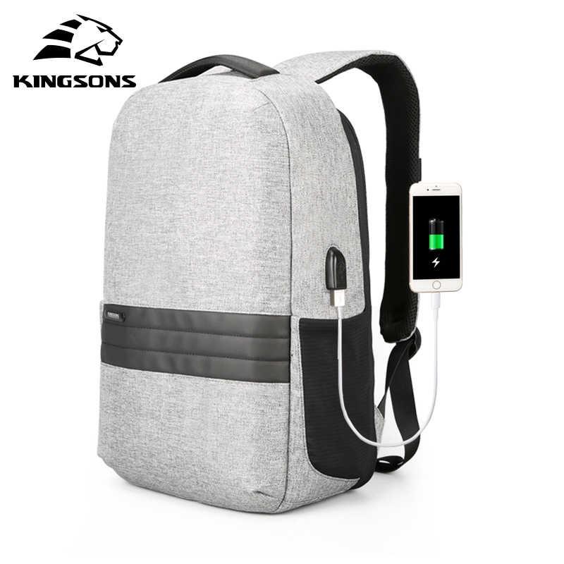 Мужской рюкзак Kingsons 15 дюймов ноутбука Рюкзаки зарядка через usb Анти-кражи рюкзак Для мужчин путешествия рюкзак Водонепроницаемый школьная сумка Mochila