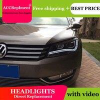 AUTO.PRO 2011 2015 For vw passat B7 headlights car styling LED light guide DRL Q5 bi xenon lens head lamps H7 car parking