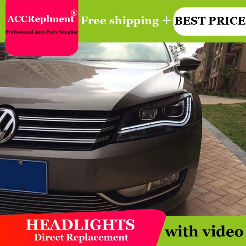 AUTO. PRO 2011-2015 pour vw passat B7 phares voiture style lumière LED guide DRL Q5 bi xénon lentille phares H7 parking