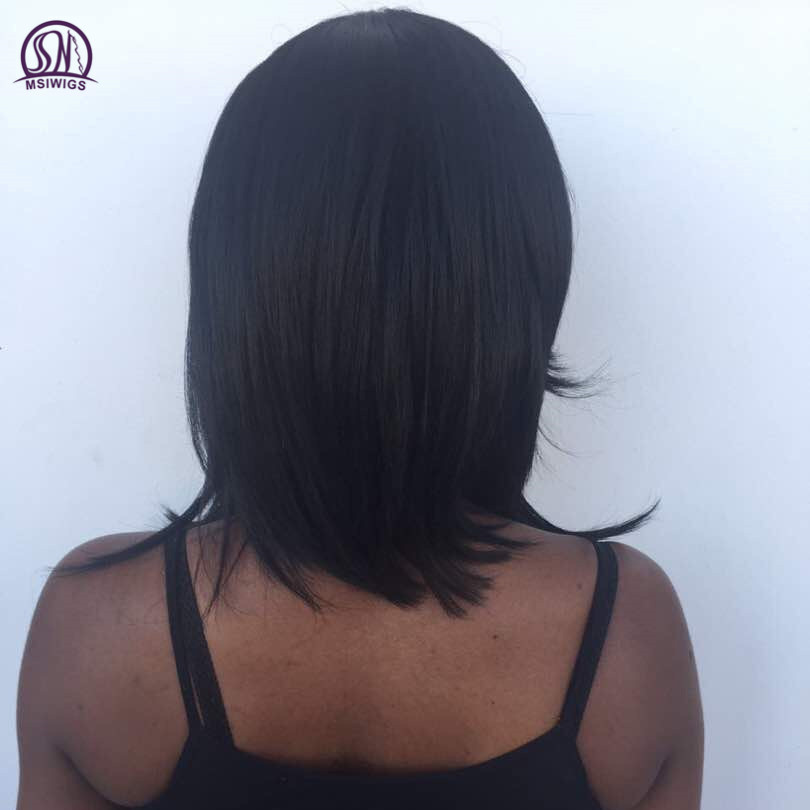 MSIWIGS 1B Black Medium Kinky Straight Synthetic Wig for Black Women 16 Inch Natural Afro Wigs Hair High Temperature Fiber