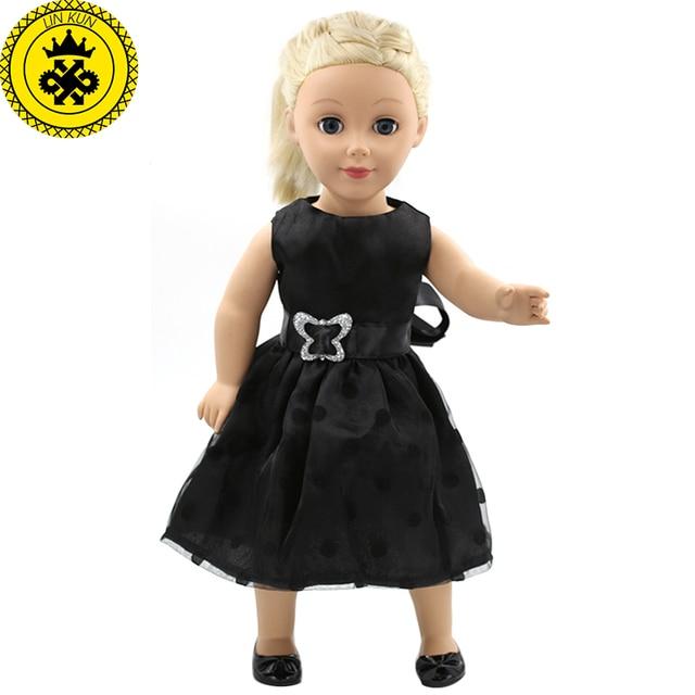 97277dc783ef 18 pollice Bambole Della Ragazza Abbigliamento Elegante Abito Nero Ragazza  di Fiore Del Vestito di Nuovo