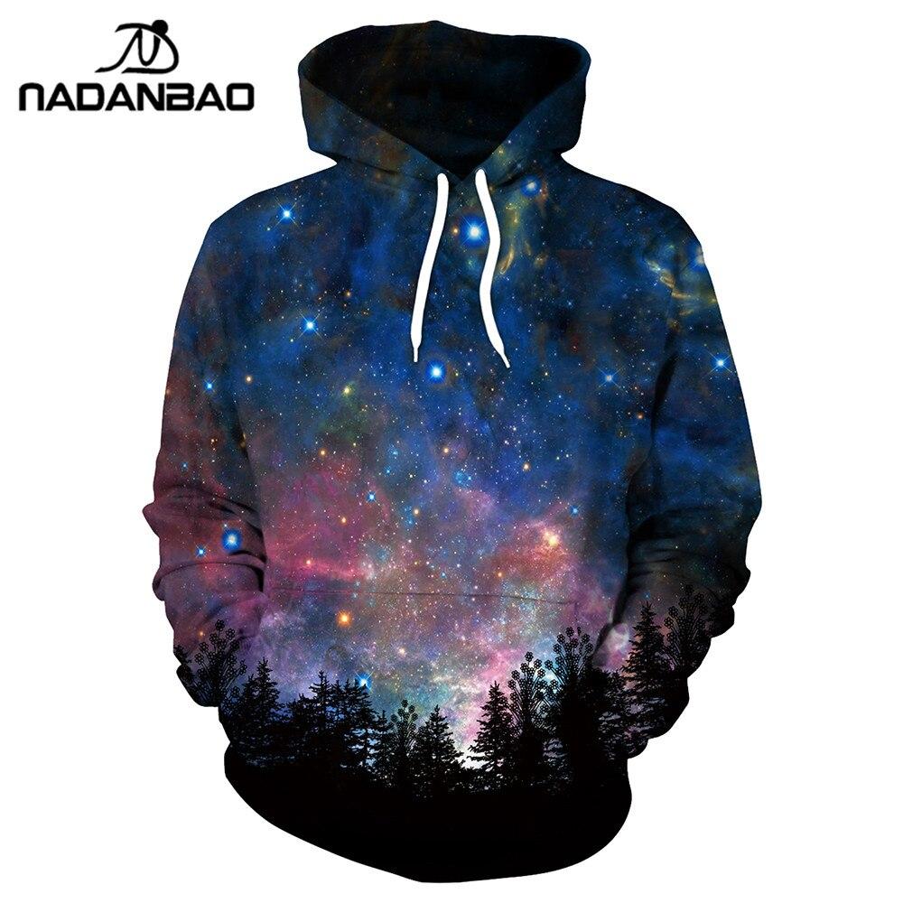 NADANBAO Nouveau Style Hiphop Hoodies Galaxy Espace 3D Imprimé Forêt Frais Mode Automne Sweat Mince À Capuchon Femmes À Capuche Bts