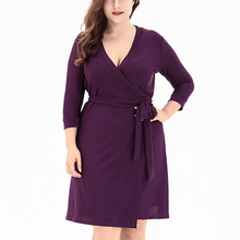 Big Size Woman Dress 5xl 6xl Elegant Vintage Vestidos 2018 Spring V-Neck 3/4 Sleeve Clothing Plus Size Open Placket Sashes Robe