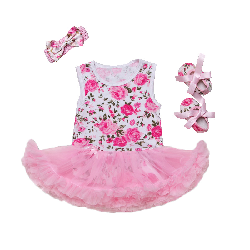 Baby Girl Floral Romper Set Real Shot Outfits Birthday Girls Dress Cute Kids Clothing Sleeveless Tutu dress Newborn Baby Outfits 3pcs set newborn infant baby boy girl clothes 2017 summer short sleeve leopard floral romper bodysuit headband shoes outfits