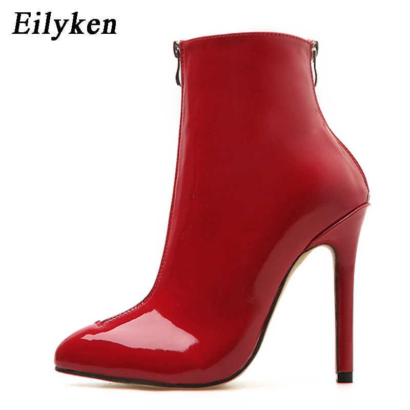 Eilyken yeni tasarım Patent deri botları ince topuklu yarım çizmeler kadınlar için Mujer 2020 Chelsea çizmeler fermuar siyah kırmızı boyutu 35 -40