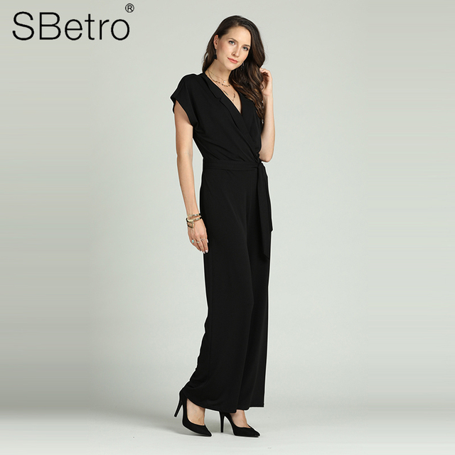 Suzanne Betro Women's Deep V Neck Summer Overalls Solid Jumpsuit Female Wide Leg Pants with Bow Tie Belt Office Lady Wear