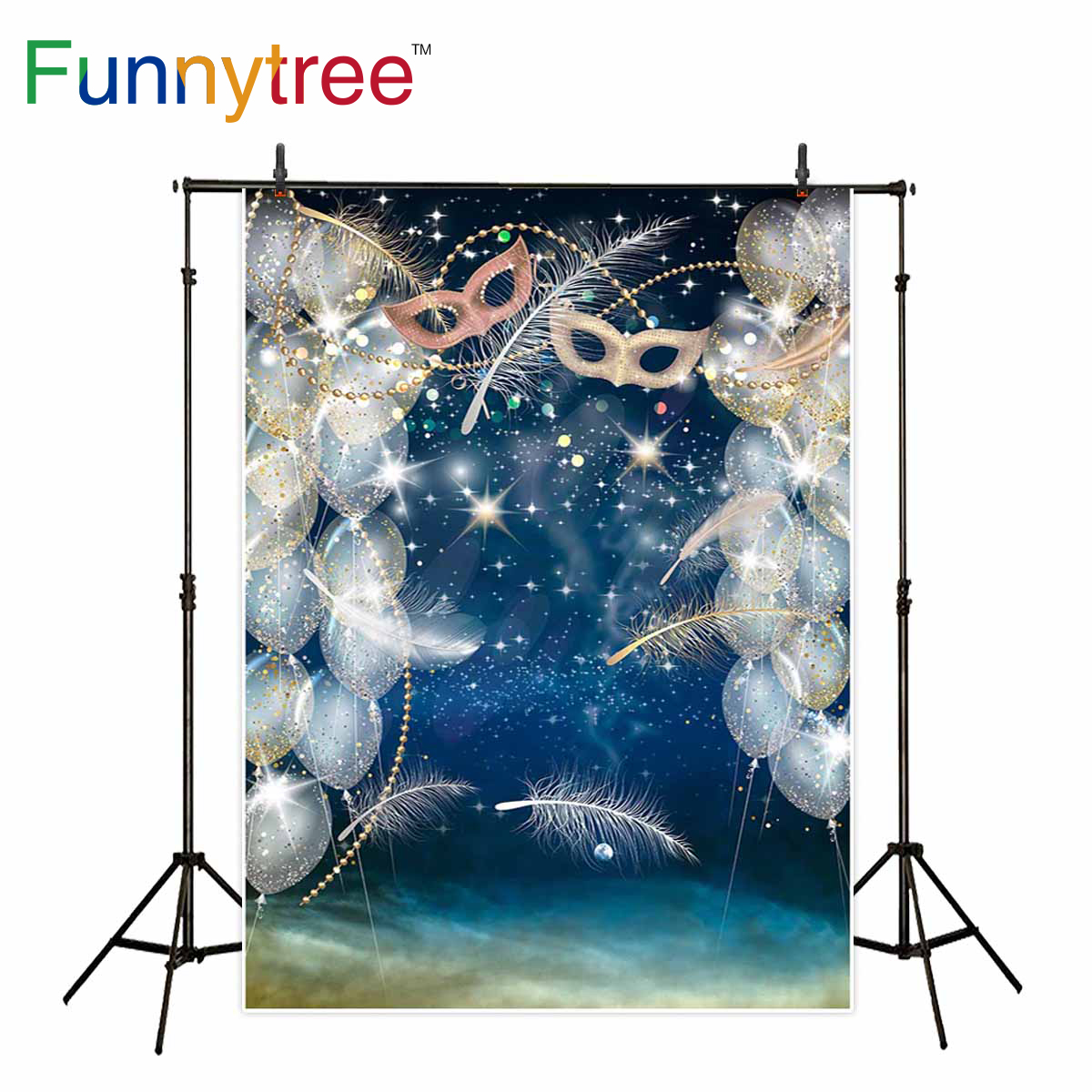 Funnytree photography background masquerade luxury party feather glitter balloons celebrate backdrop photographer gift photocall