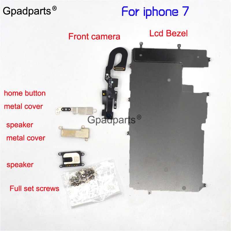 Full Set part For Iphone 8 7 6 6s plus LCD Metal Bezel +Original Front camera +speaker +home button flex cable + Screw + Bracket image
