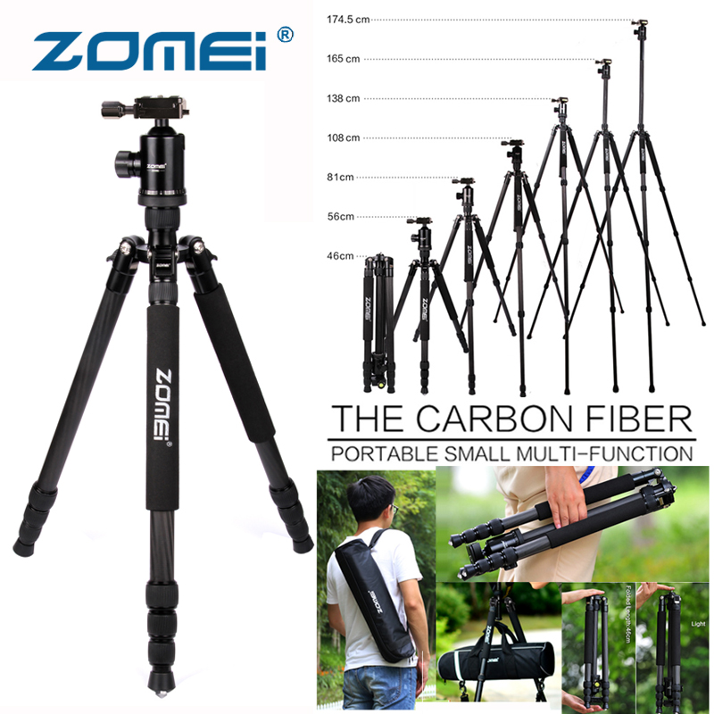 Zomei Z888C En Fiber De Carbone Trépied Professionnel Portable Voyage Caméra Stand 360 degrés Rotule Compacte pour DSLR Caméra Vidéo