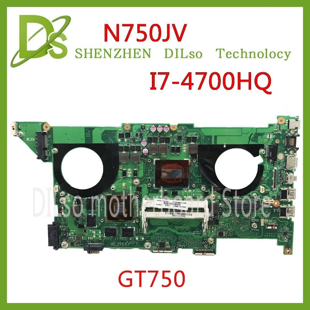 KEFU N750JV Pour asus n750jv N750JK I7-4700HQ CPU GT750 mère D'ordinateur Portable pour asus n750jv REV2.0/2.1 Test de la carte mère