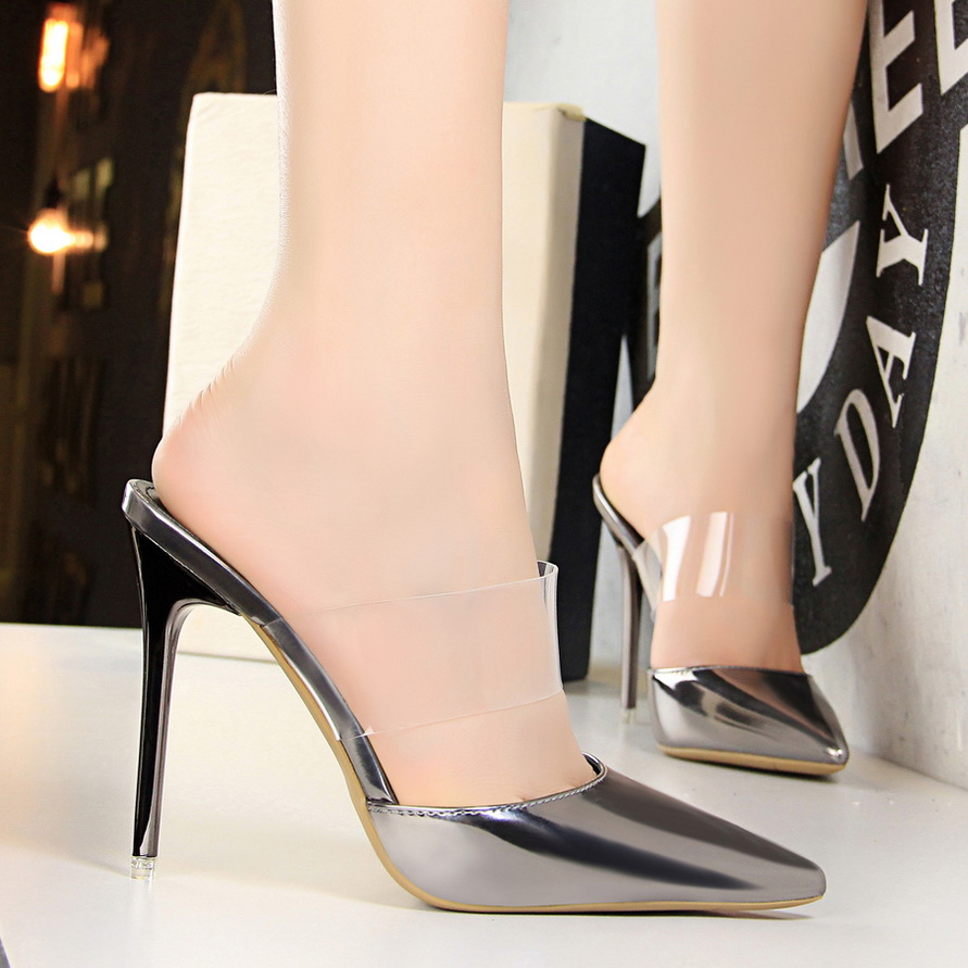 Patent leather high heels Slides Pointed toe Slippers clear Mules ladies Sandals Women Shoes gold silver black Bronze Champagn