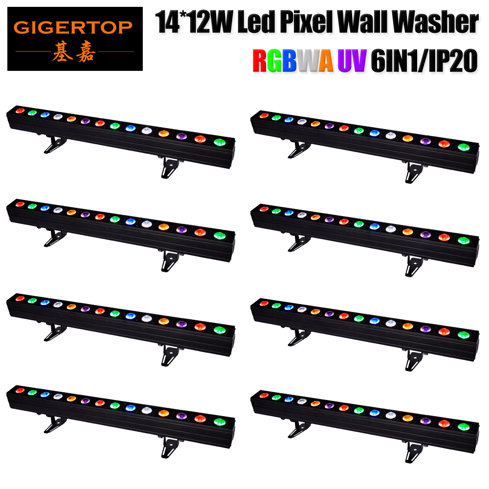 Discount Price 8 Pack 14*12W RGBWAP 6IN1 Color DMX LED Wall Washer Light 200W IP20 Built-in Microphone Sound Music Controlled