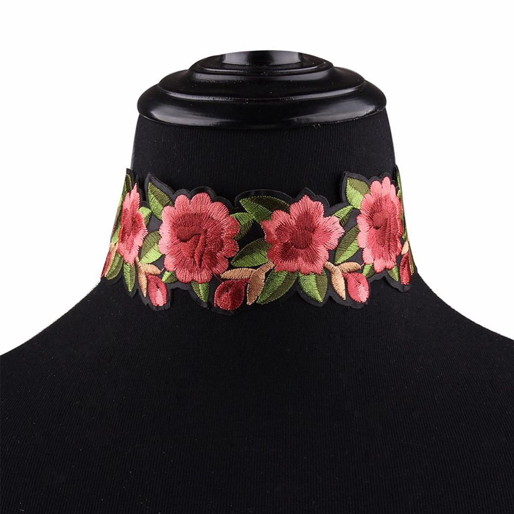 1PC Fashion Women's Bohemian Red Big Flower Printed  Choker Necklace Nice Jewelry Collar Gifts
