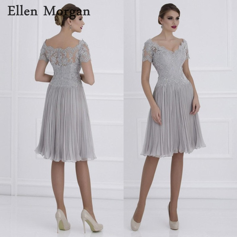 Chiffon Mother of the Bride Groom Dresses 2019 for Summer Boat Neck Lace Ruffles Knee Length Godmother Wedding Party Gowns(China)