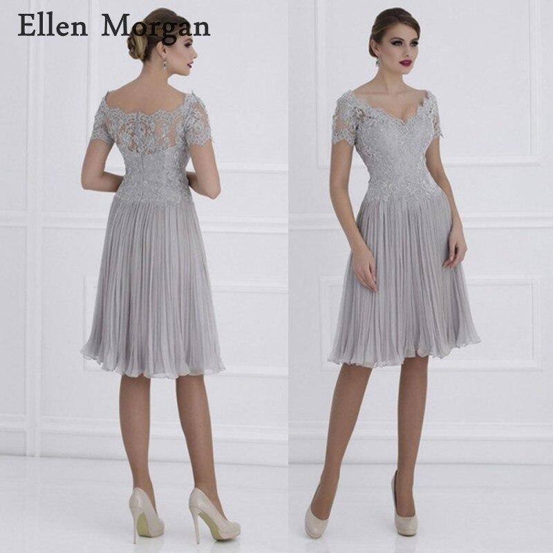 Mousseline de soie mère du marié robes 2019 pour été bateau cou dentelle volants genou longueur marraine robes de mariée