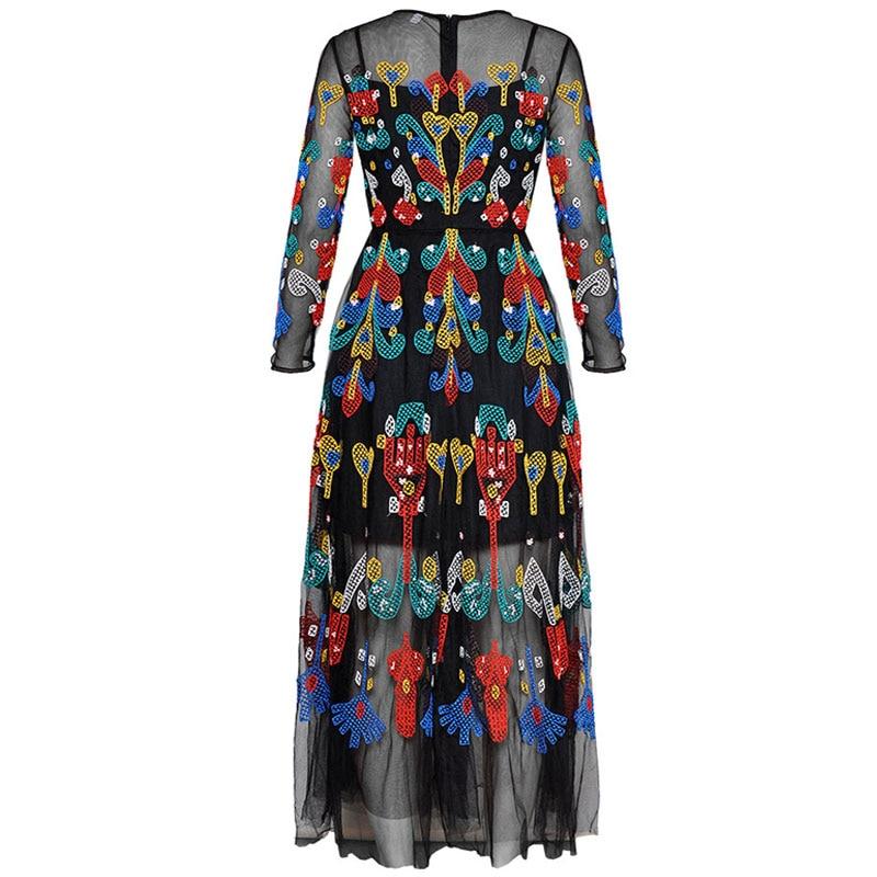 Red RoosaRosee Summer Women's Long Sleeve Heavy Gauze Embroidery Long Sleeve Slim Black Gauze Long Maxi Dress Boho Vestidos Robe-in Dresses from Women's Clothing    2