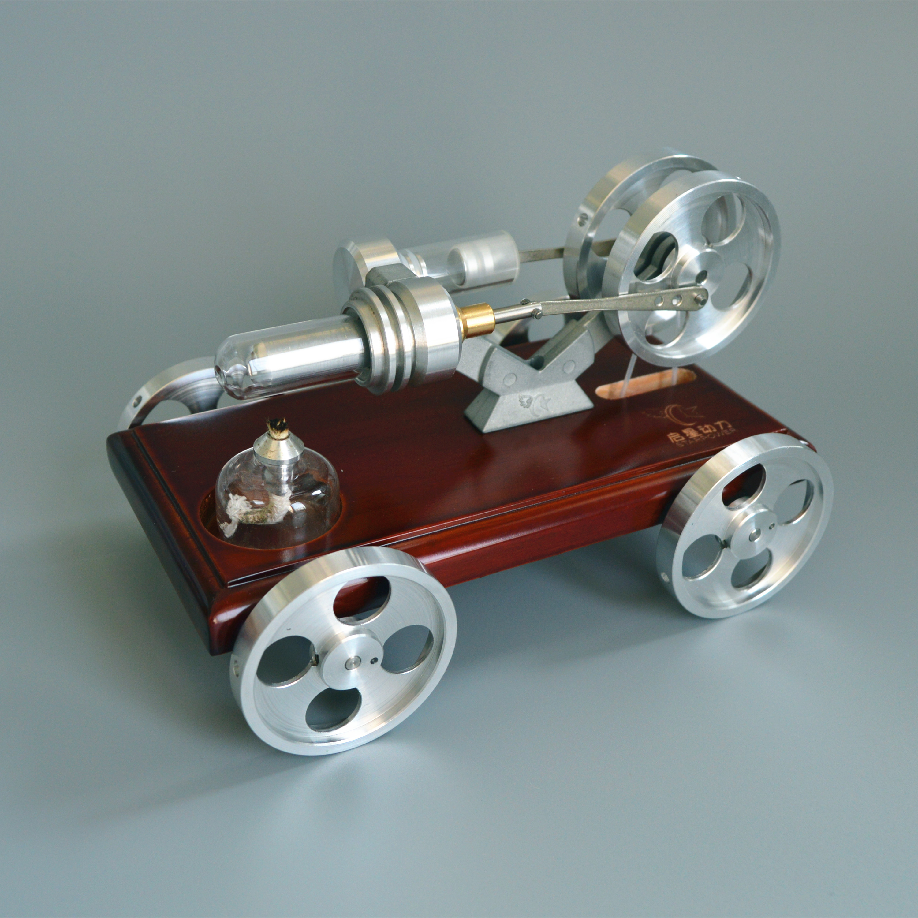 Mini Metal Stirling Engine Model Toy Car Environmental Science Experiment Small Vehicle Toy 180*108*116mm