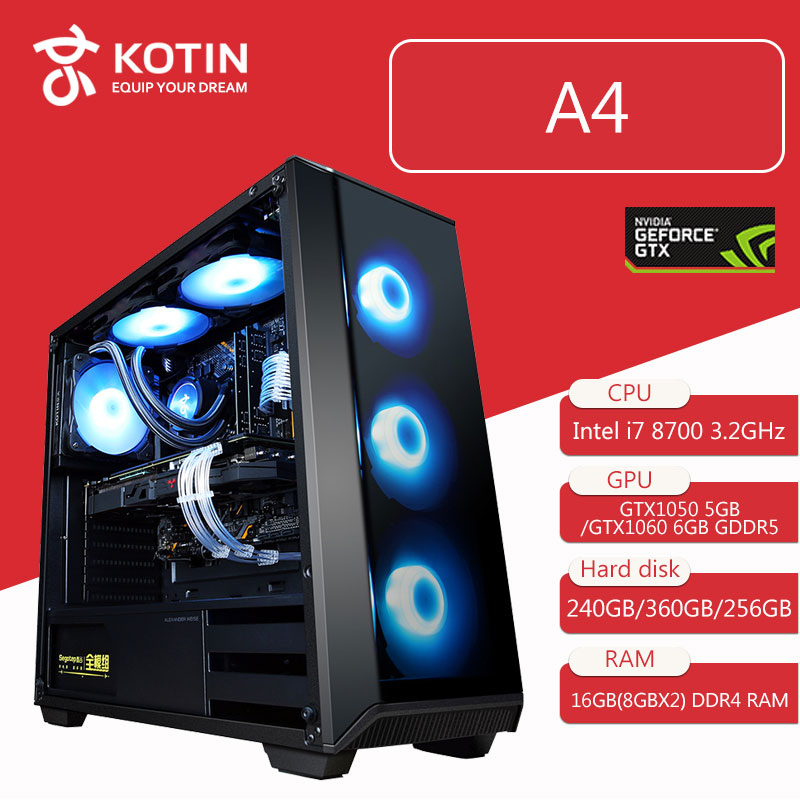 Kotin Gaming PC Desktop Computer Intel Core I7 8700 3.2GHz Hexa Core B360M GTX 1060 5GB 6GB GPU 16GB RAM RGB Light 3 Types