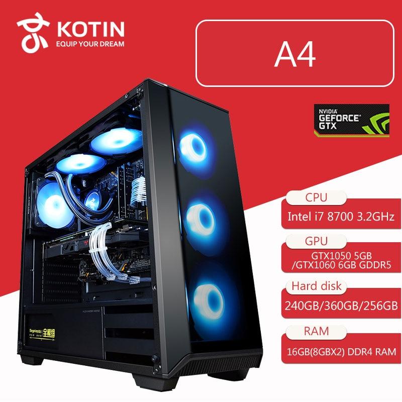 Kotin Gaming PC Desktop Computer Intel Core I7 8700 3.2GHz Hexa Core B360M GTX 1060 5GB 6GB GPU 16GB RAM RGB Light 3 Types