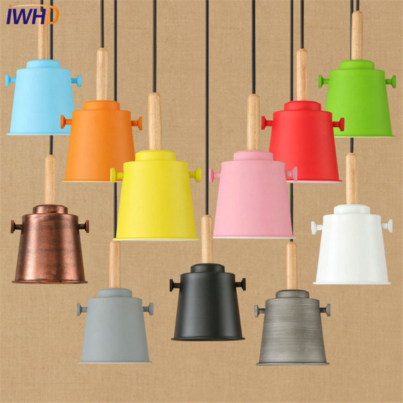 IWHD Loft Style Color Iron Modern LED Pendant Light Fixtures For Dining Room Hanging Lamp Vintage Industrial Lighting iwhd loft style round glass edison pendant light fixtures iron vintage industrial lighting for dining room home hanging lamp
