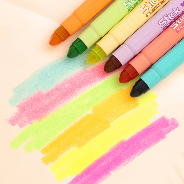 6 Pcs Novelty Cute Kawaii Solid Highlighter Fluorescent Pen Water Color Fragrant Marker Pen For Paper School Supplies Stationery