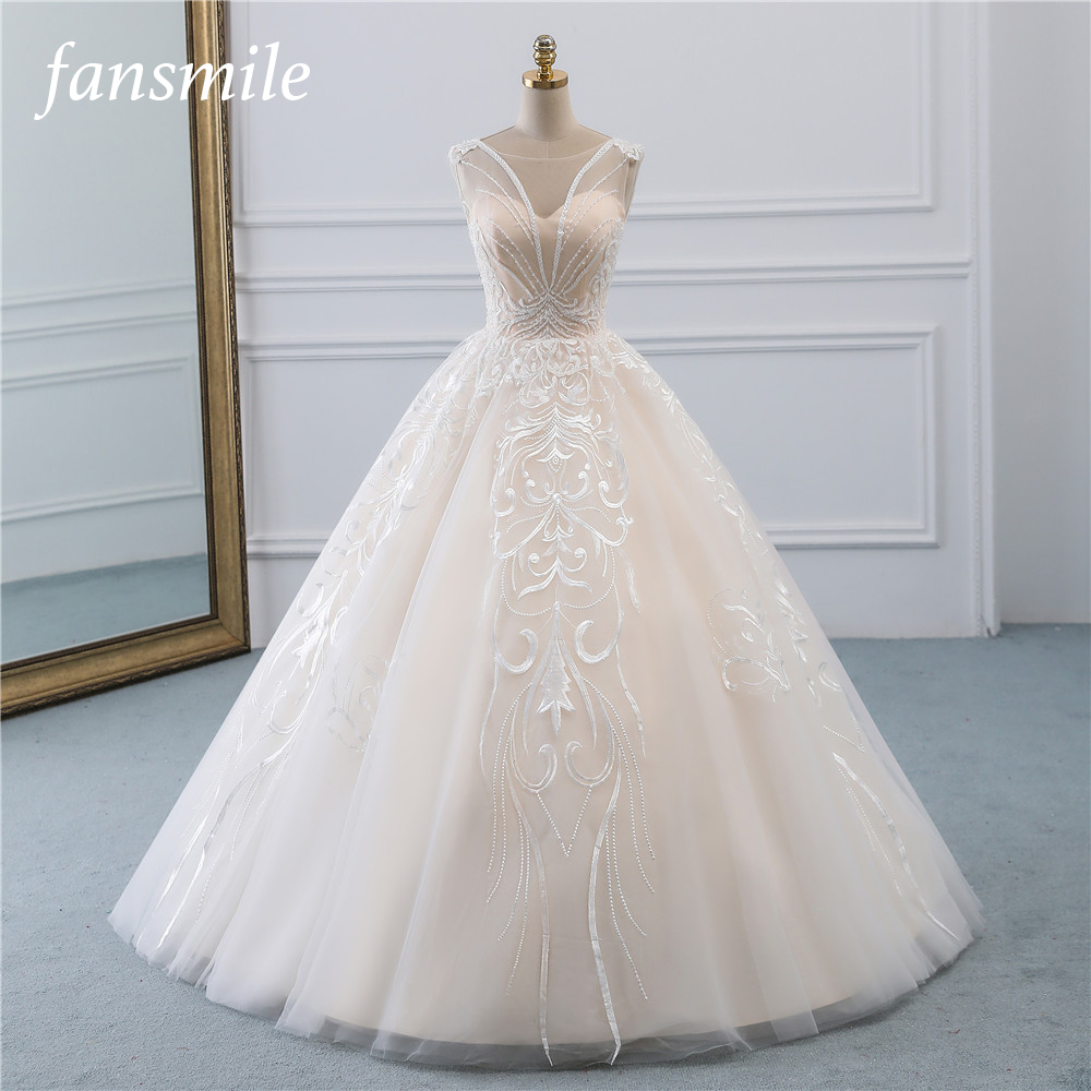 Fansmile New Vestidos De Novia Vintage Ball Gown Tulle Wedding Dress 2019 Princess Quality Lace Wedding Bride Dress FSM-523F