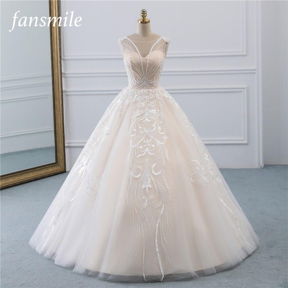 Fansmile New Vestidos De Novia Vintage Ball Gown Tulle Wedding Dress 2020 Princess Quality Lace Wedding Bride Dress FSM-523F