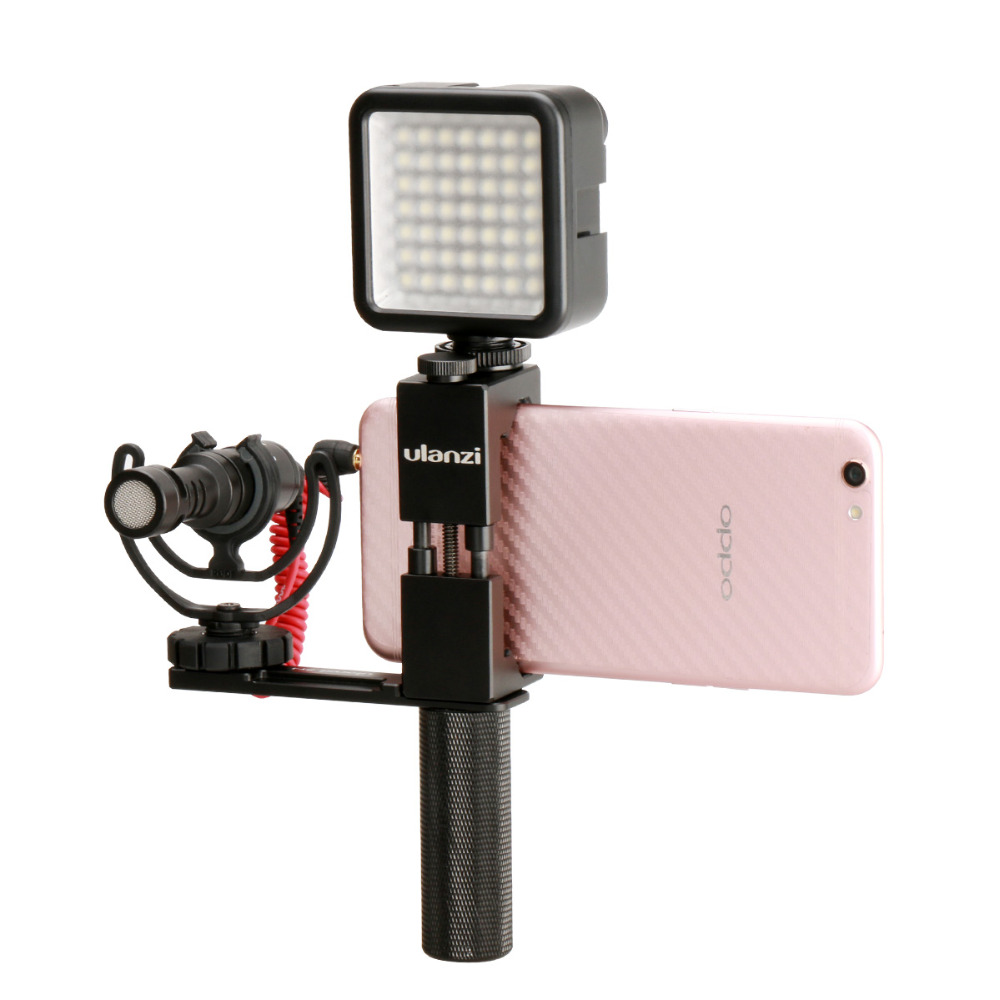 Ulanzi PT-1 Kit Microphone Stand Smartphone Video Rig Metal Phone Tripod Mount with Hand Grip Microphone  LED Light for iPhoneUlanzi PT-1 Kit Microphone Stand Smartphone Video Rig Metal Phone Tripod Mount with Hand Grip Microphone  LED Light for iPhone