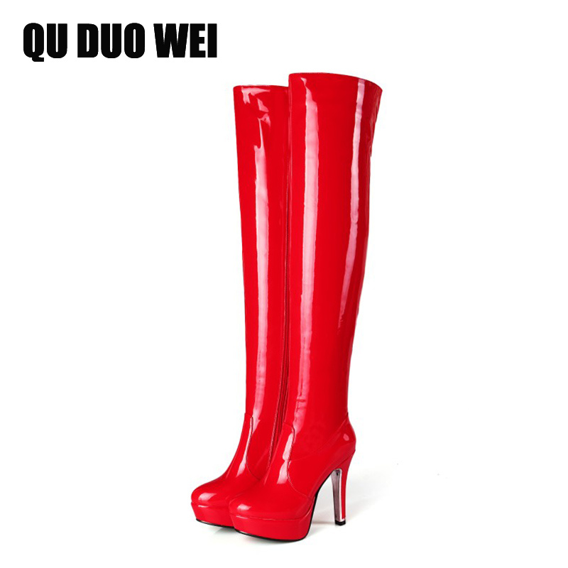 2018 Women Over The Knee Boots High Platform Patent Leather Riding Boots Overknee High Heel Shoes Ladies Dancing Boots Plus Size scoyco motorcycle riding knee protector extreme sports knee pads bycle cycling bike racing tactal skate protective ear