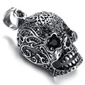 Mens Gothic Biker Stainless Steel Pendant Necklace, Skull, Black Crystal, KP5652