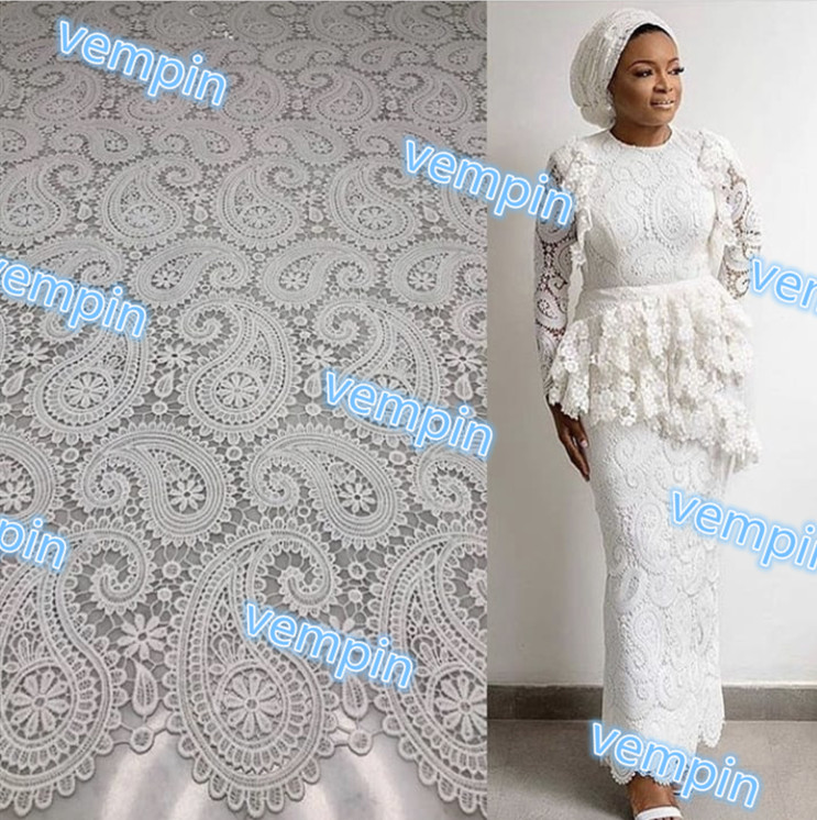 Beautiful African Cord Lace Fabric High Quality African Guipure Fabric Water Soluble Lace For Women Party