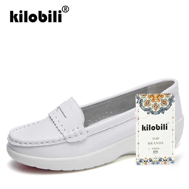 b1a21c99ccc ... kilobili 2019 Spring Women Genuine Leather Loafers Casual Ballet Flats White  Nurse Shoes Woman Slip On ...