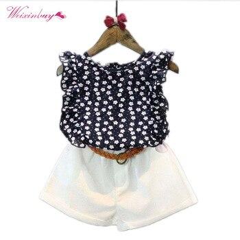 Summer Kids Toddler Floral Chiffon Polka Dot Sleeveless T-shirt Tops+Shorts Outfits Baby Girls Clothes Sets conjuntos casuales para niñas