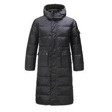 Men Long Down Coat Parkas Outwear Jacket Overcoat Hood Plus size Black Warm Winter Fast shipping