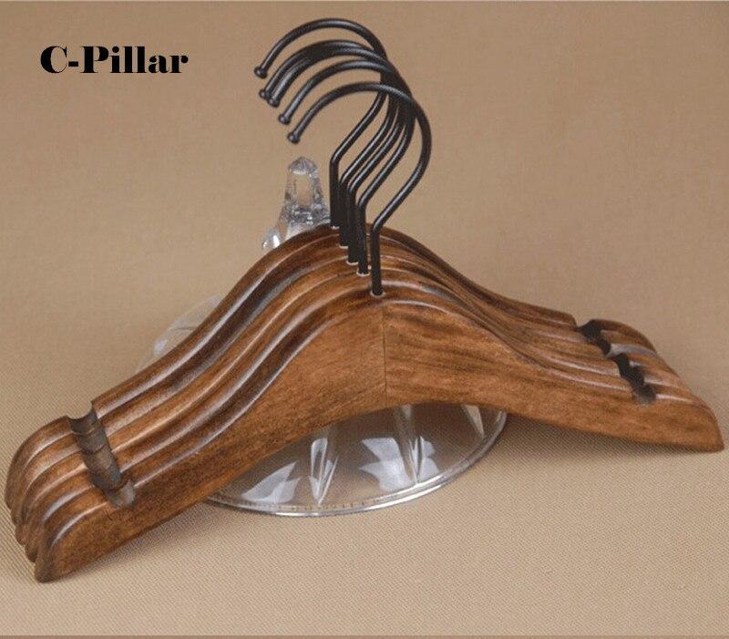 5 pcslot vintage black wooden coat hangers 100 solid wood clothes hanger