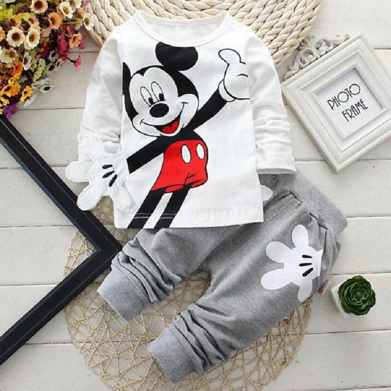 2015 Boys&Girls Cotton Spring sport suit Kids Mickey Minnie Clothing set Kids fashion clothes baby boys&Girls cartoon set
