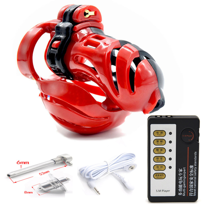 Male Chastity Cock Cages Device Ball Stretcher Penis Ring Penis Plug Urethral Sound Cockring Electro Shock Set Sex Toys For Men 3d design male chastity device ball stretcher penis ring electro shock scrotum penis plug cage cock electric sex toys for men