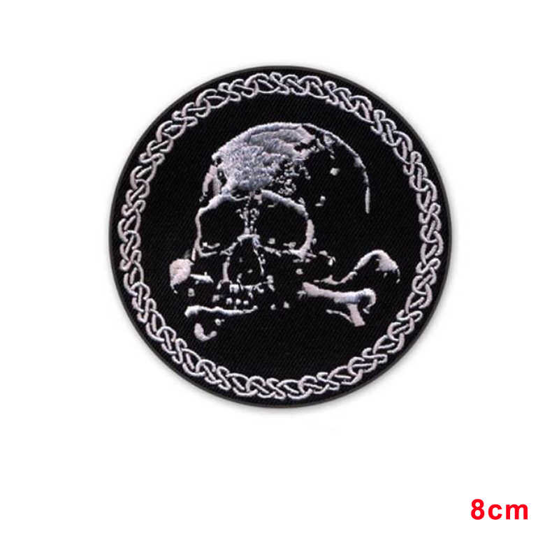 Baru tiba SKULL BONES CROSSBONES BORDIR IRON-ON PATCH REALISTIS EMBLEM