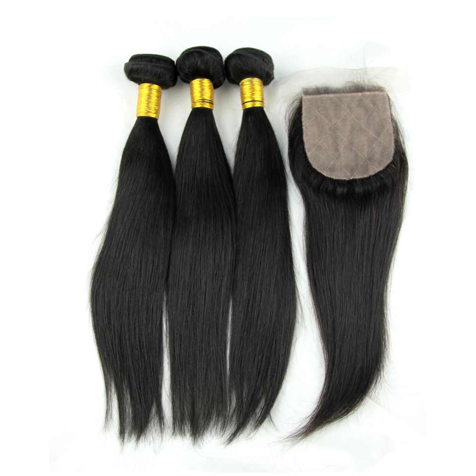 Straight Hair 3 Bundles With Silk Base Closure Brazilian Human Hair Weave with 4X4 Free Part