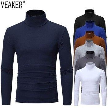 2020 New Men's Solid Color Turtleneck T Shirts Male Slim Fit Long Sleeve T Shirts Black White Men tshirt Tops M-3XL