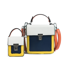 Contrast Color Two-Piece Composite Bag  Hand Small Square Bag Fashion Wild Casual Personality Single Shoulder Messenger Bag