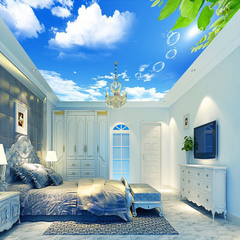 Light Blue Wallpaper Bedroom Bedroom Ceiling Design 2016 Bedroom Ceiling Light Design Beautiful Bedroom Art: Aliexpress.com : Buy Custom Mural Wallpaper 3D Blue Sky