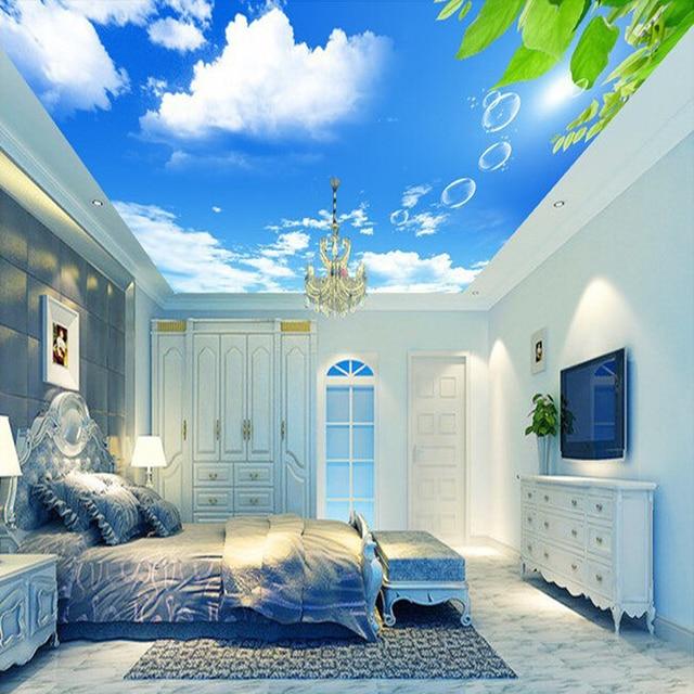 Custom Mural Wallpaper Blue Sky White Clouds Leaves Modern Wall Decor Paper Living Room Study
