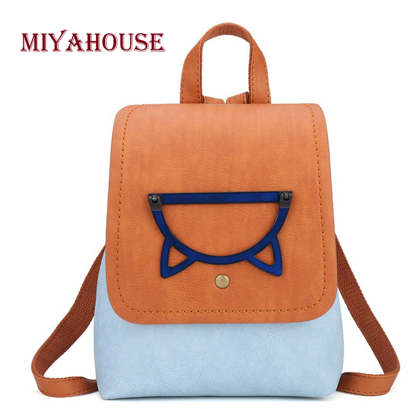 Miyahouse New Cute Cartoon Design Backpack For Teenager Girls School Bag Fashion Hit Color Female Backpack Travel Rucksack
