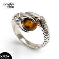 Male rings,original design,personalized fashion male 925 silver ring thai silver ring opening,Dragon claws+Natural stone
