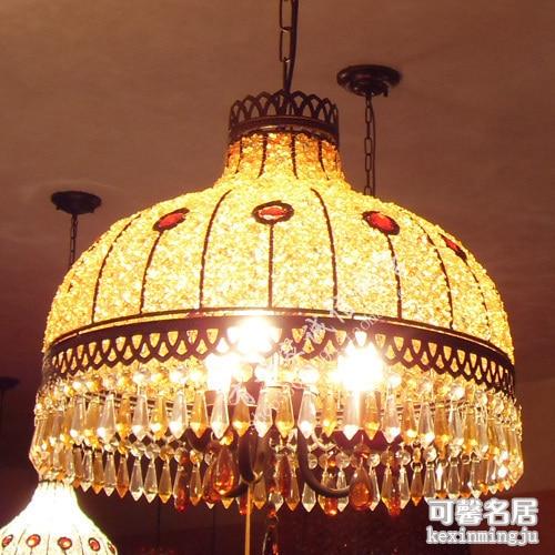 Fashion Bohemia Handmade Beaded Pendant Light Crystal Bedroom Lamp