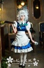 Anime touhou project izayoi sakuya lolita maid cosplay costume set completo dress + delantal + headwear + bowknots + tie