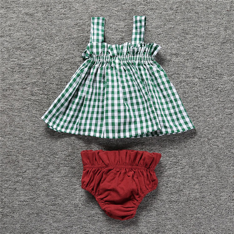 Lovely Baby Girls Summer Sets Infant Toddler Plaid Strap Lined Dress with Burgundy Bloomer Shorts Suit Kids Clothing Two Pieces